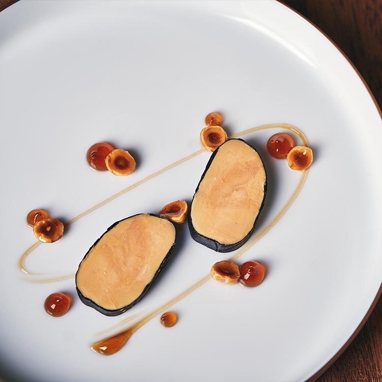 Slow Poached Foie Gras, Black Périgord Truffles, Hazelnuts